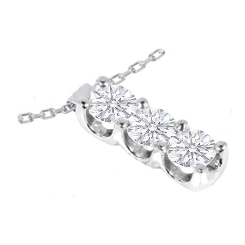 3 Stone Diamond Drop Pendant 0.30 tcw. in 14 Karat White Gold