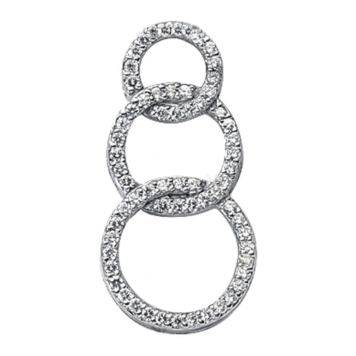 Three-Ring Micro-Pavé Set Circle Of Love Pendant in 14 Karat White gold 0.64 tcw.