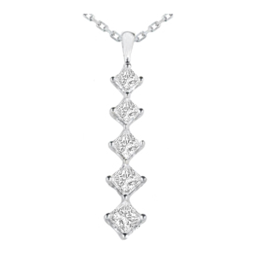 Necklaces and pendants journey 5 diamond drop pendant in 14 journey 5 diamond drop pendant in 14 karat white gold 165 tcw aloadofball Image collections