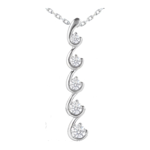 Necklaces and pendants hook shaped journey 5 diamond drop hook shaped journey 5 diamond drop pendant 14 karat white gold 026 tcw mozeypictures Gallery