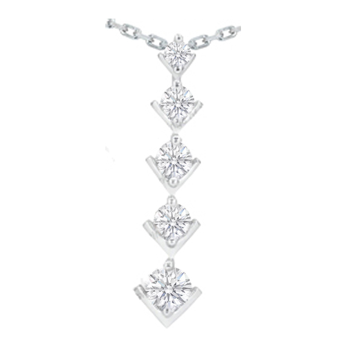 Modern Journey - 5 Diamond Drop Pendant 14 Karat White Gold (0.50 tcw.)