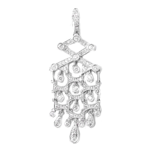 Dangling Chandelier Vintage Style Diamond Pendant 0.78 tcw. In 14 Karat White Gold