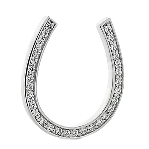 0.45 Carat Horseshoe Diamond Pendant in White Gold