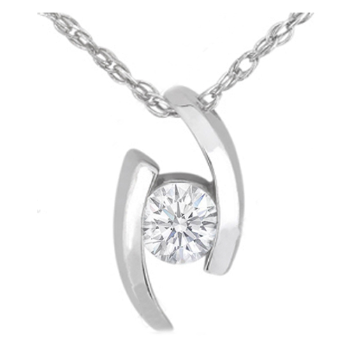 Swirl Solitaire Round Diamond Pendant 0.60 Carat in 14 Karat White Gold