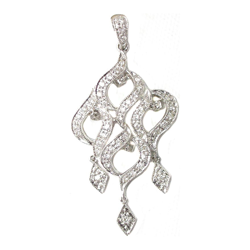 Dangling Chandelier Vintage Diamond Pendant 0.35 tcw. 14 Karat White Gold