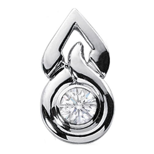 Tear Drop Solitaire Diamond Pendant 0.75 Carat round diamond Bezel Set in 14 Karat White Gold