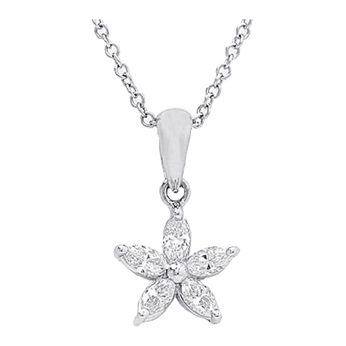 Marquise Diamond Flower Star Pendant