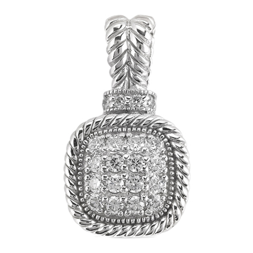 Vintage Style Round Diamond Filigree Pendant 0.41 tcw. In 14 Karat White Gold