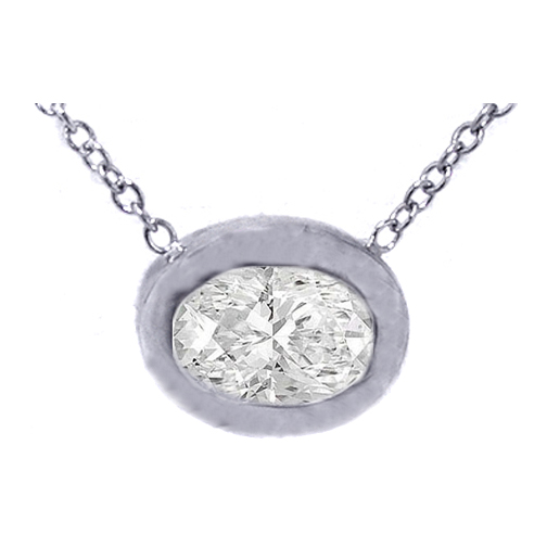 Solitaire Oval Diamond White Gold Pendant 0.67 tcw.
