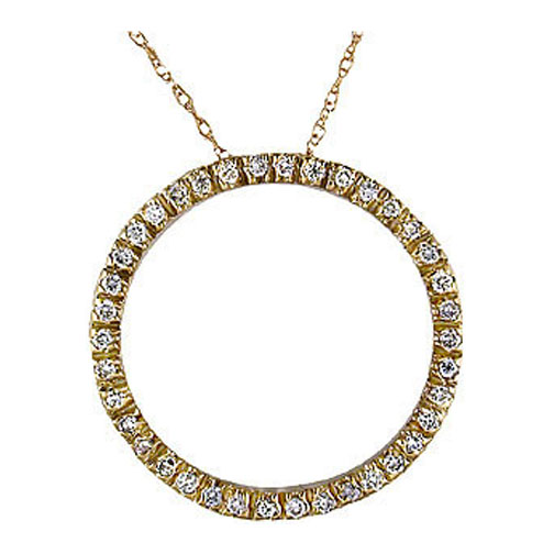 Circle of Love Round Diamond Pendant 0.50 tcw. In 14 Karat Yellow Gold