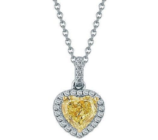 Fancy Yellow Heart Shape Diamond Necklace