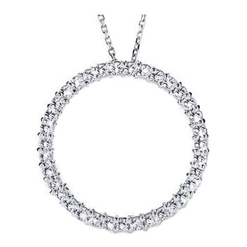 Circle of Love Diamond Pendant 1.00 tcw. In 14 Karat White Gold