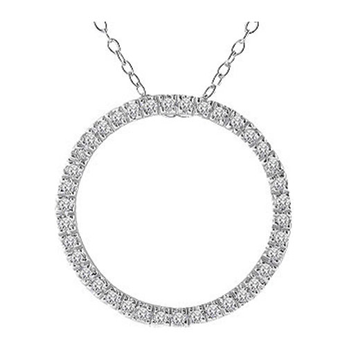 Circle of Love Diamond Pendant 0.50 tcw. In 14 Karat White Gold