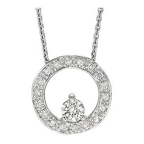 Birth of a Child Circle of Love Diamond Pendant 0.35 tcw. In 14 Karat White Gold