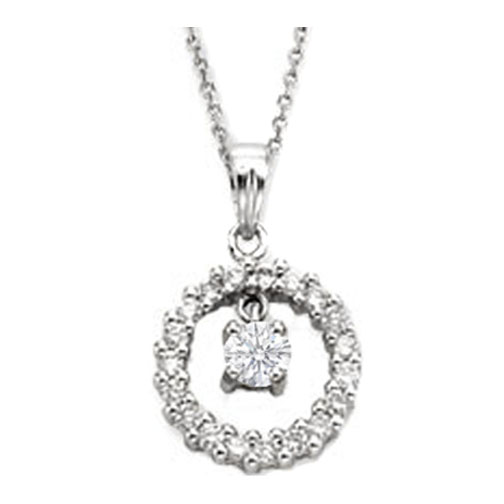 Necklaces and pendants circle of love diamond pendant center stone circle of love diamond pendant center stone 045 tcw in 14 karat white gold aloadofball Images