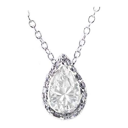 Pear Shape Solitaire Diamond Halo Pave Pendant Necklace 1.20 tcw. In 14 Karat White Gold