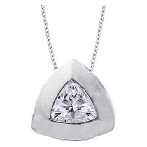 Solitaire Trillion Diamond Pendant 0.50 carat In 14 Karat White Gold