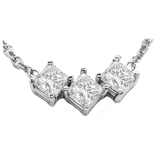 3 Stone Princess Cut Diamond Necklace One Carat tw. In 14 Karat White Gold