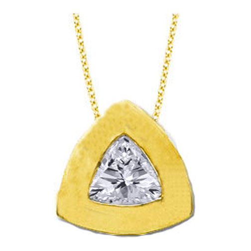 Solitaire Trillion Diamond Pendant 0.35 carat In 14 Karat Yellow Gold