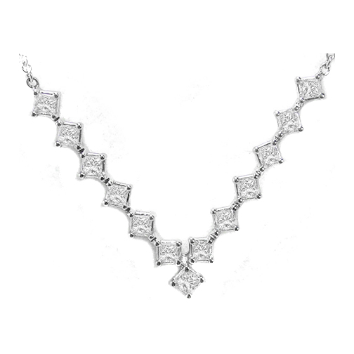 Princess Cut Diamonds Tennis Necklace 1.15 Carat Set in 14 Karat White Gold