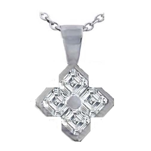 Asscher Cut Diamond Pendant 0.60 Carat G VS