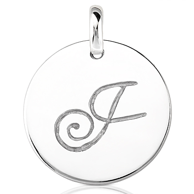 Script Round Disc Initial J Engraved in a 14 Karat White Gold Pendant