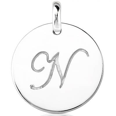 Script Round Disc Initial N Engraved in a 14 Karat White Gold Pendant