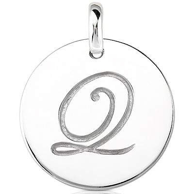 Script Round Disc Initial Q Engraved in a 14 Karat White Gold Pendant