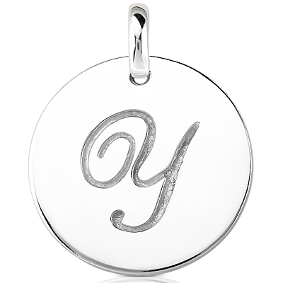 Script Round Disc Initial Y Engraved in a 14 Karat White Gold Pendant
