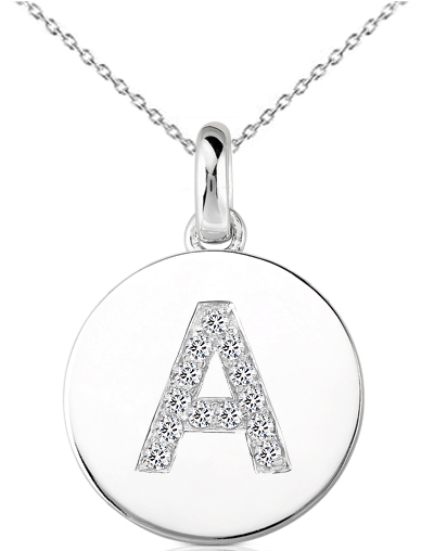Initial A Disc Pendant with Diamonds in 14 Karat White Gold