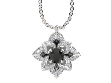 Black Diamond Lotus Flower Diamond Necklace