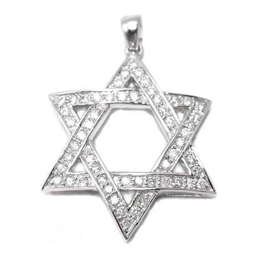 Star Of David Diamond Pendant 0 80 Tcw In 14 Karat White Gold
