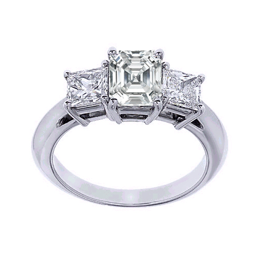 Stone Asscher Cut Diamond Engagement Ring with princess side ...