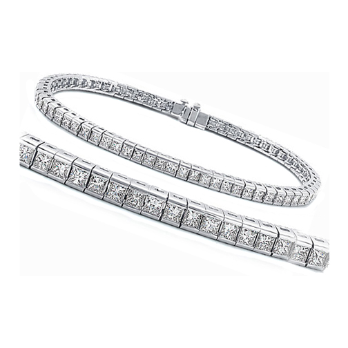 Four (4.30) Carat Princess Diamond Tennis Bracelet F-G VS