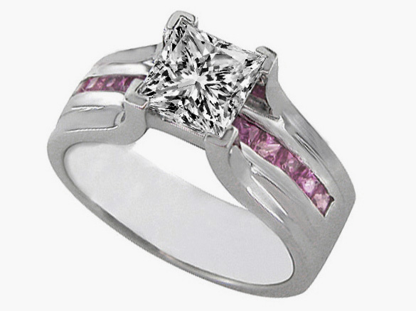 Princess Cut Diamond Bridge Engagement Ring Setting with Pink Sapphire 0.90 tcw. In 14K White Gold