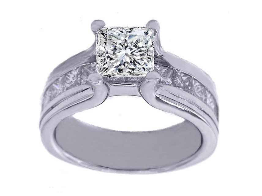 Platinum Princess Diamond Bridge Engagement Ring with Princess Diamonds 1.15 tcw.