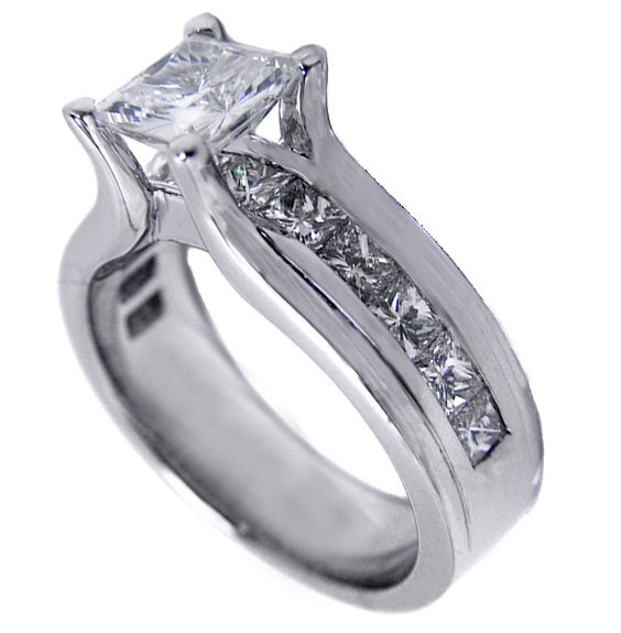 Princess Cut Diamond Bridge Engagement Ring with princess Diamonds 1.15 tcw. In 14K White Gold