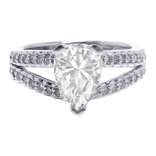 Pear Shape Diamond Engagement Ring, Split Band Accented with Round Diamonds 0.36 tcw. In 14K White Gold