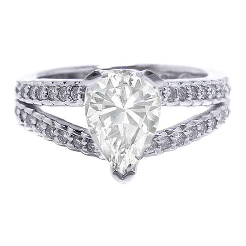 engagement ring pear shape diamond engagement ring split
