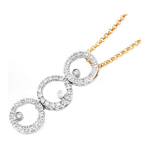 Triple Circle of Love Diamond Pendant 0.50 tcw. In 14 Karat Yellow Gold
