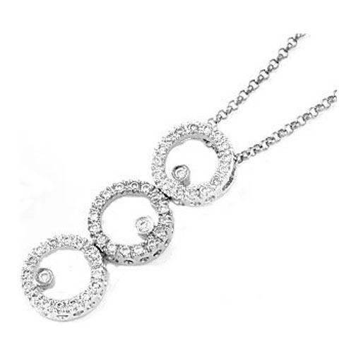 Triple Circle of Love Diamond Pendant  0.50 tcw. In 14 Karat White Gold