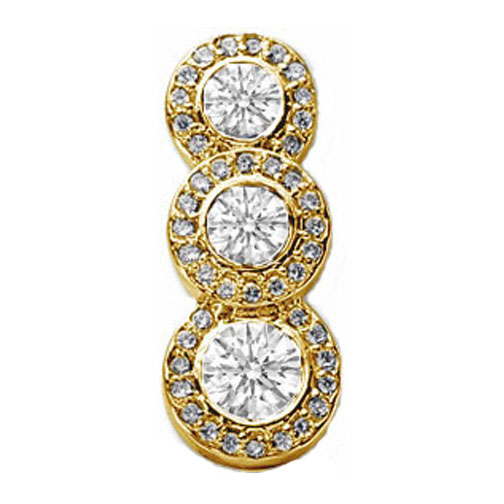 3 Stone Stroke of Brilliance Diamond Pendant 0.75 tcw. in 14 Karat Yellow Gold