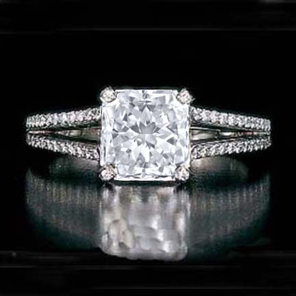 Square Radiant Diamond split band Engagement Ring setting 0.64 tcw. In 14K white gold Like Kendra Wilkinson