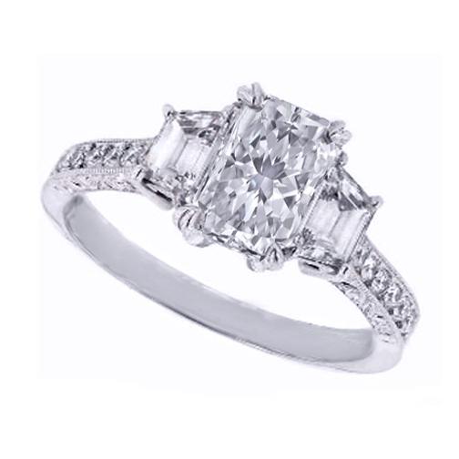 Engagement Ring Three Stone Rectangular Radiant Cut Diamond Engagement Ring