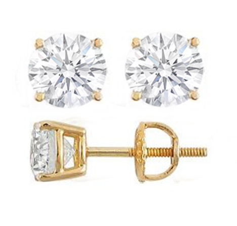 gold stud earrings diamond earring index karat yellow