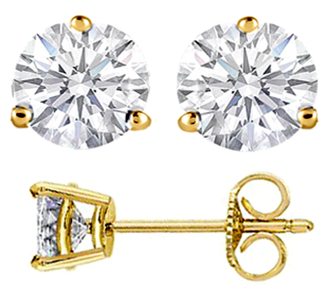 1 1/2 carats tcw. Three Prong Diamond Stud Earrings in Yellow Gold H SI2