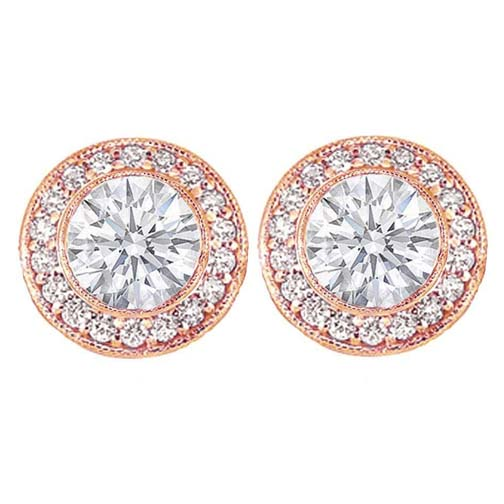 2 carats tcw. Bezel Set Round Diamond Halo Earrings in 14 Karat Rose Gold H SI2.