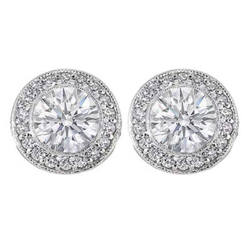Pavé and Bezel Set Round Diamond Halo Earrings in 14 Karat White Gold H SI2, 0.74 tcw.
