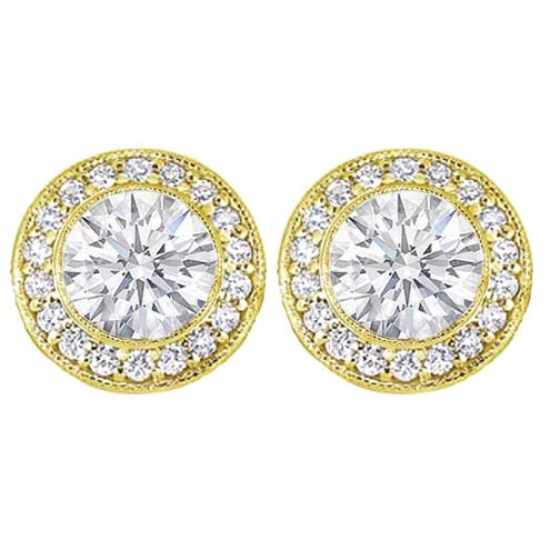 1 tcw. Bezel Set Round Diamond Halo Earrings in 14 Karat Yellow Gold H SI2