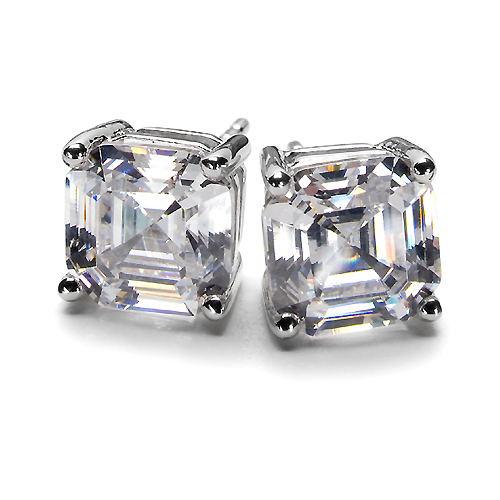 Asscher Cut Diamond Stud Earrings 1.40 tcw. F VS